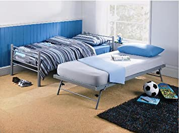 3ft Single Silver Metal Twin Trundle Pull Out Guest Bed Frame Only