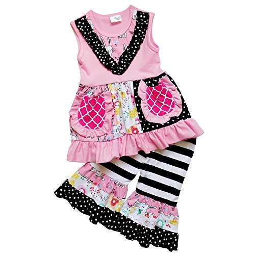 So Sydney Girls Toddler Tank Ruffle Bottom Tunic Top Capri Pants Boutique Outfit (XXXL (8), Pink & Black) (Tunic Cropped & Pants Set)