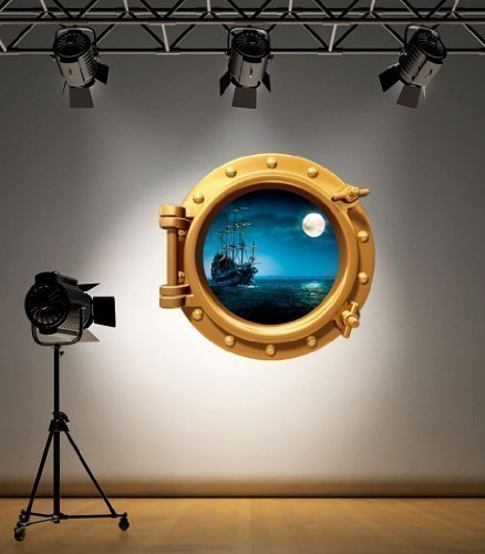 Full Colour Brass Porthole Pirate Ship Under Water Bathroom Kids Bedroom Wall Sticker Decal Sea Ocean (Brass Porthole Ship)