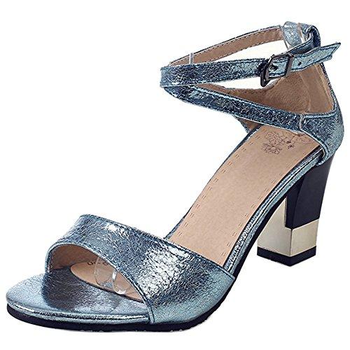 Coolcept Mujer Correa de Tobillo Sandalias Zapatos Blue