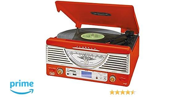 Trevi TT 1062 E - Tocadiscos (MP3, 230 V, 50 Hz), color blanco y rojo