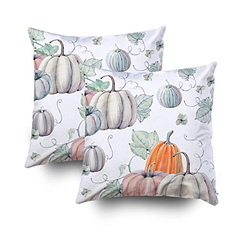 My Pillow Covers,watercolor pumpkins seamless pattern It is perfect for thanksgiving cards or wrapping paper halloween design recipe or menu background wallpaperCapsceoll 16x16 Pack of 2Throw Pillow C -