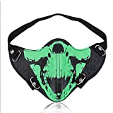 HuiZhi Leather Dust Proof Skull Mask - Punk Half-face Motorcycle Bike Mask Knight Wind Mask Cosplay Mask (Noctilucous)