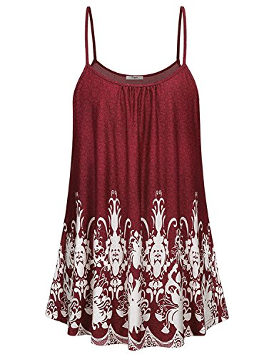 Poptem Womens Loose Cami Tank Tops Flowy Tunic Summer Sleeveless Print Shirt Camisole ()