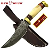 Cheap Red Deer 9.5 Inches Damascus Hunting Knife With Tan Bone Handle