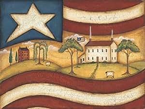 Kim Lewis – Folk Flag II Artistica di Stampa (27,94 x 35,56 cm)