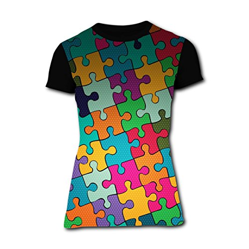 [T-shirts Tee Shirt for Women Tops Costume Cool Jigsaw Puzzle XXL] (Female Jigsaw Costume)