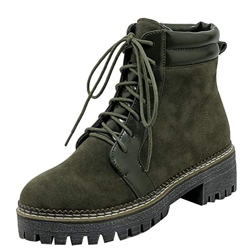 Stylish Zippers Women's Dark Green Boots Biker Platform Carolbar wPqtd54xq