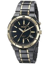 Seiko Men's SKA366 Kinetic Black Ion Watch