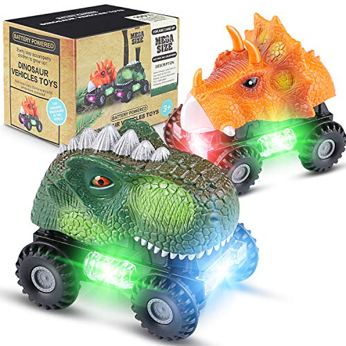 MagicFun Dinosaur Cars 2 Pack, Light Up Dino Car with LED Light and Sound Dinosaur Toy Car for Boys Birthday Present Dinosaur Vehicles for Kids Toddlers Infants (Batteries and Screwdriver Included) -