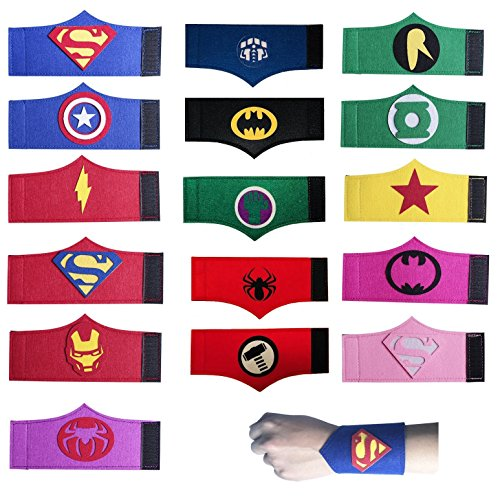 JDProvisions 16 Pieces Superheroes Party Fun Cosplay Felt Wristbands for Boys Girls (16-Wristbands) for $<!--$13.99-->