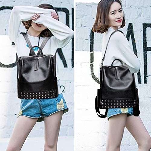 New Bag The 31cm Rivets Casual 15cm Leather Of Trend Korean Kong Hong Backpack Shoulder 2018 Layer Baotou Version 30cm Soft Female qgOwECz