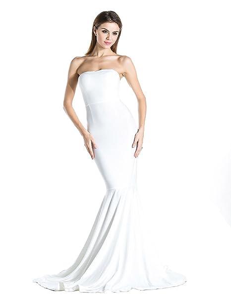 Missord vestido de mujer de fiesta sin tirantes blanco blanco X-Small