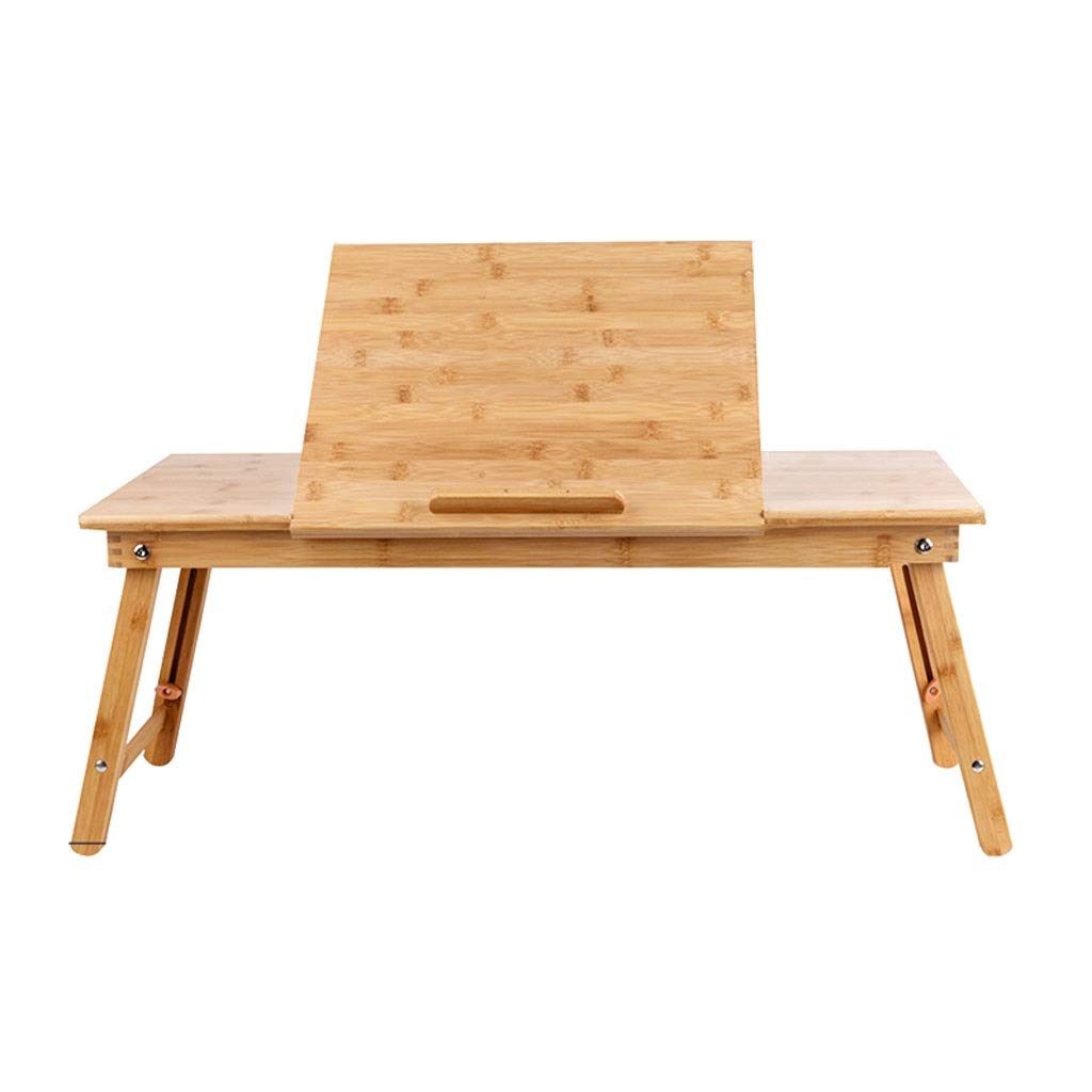 XJY Laptop Desk Table Adjustable 100% Bamboo Foldable Breakfast Serving Bed Tray Table w' Tilting Top Drawer