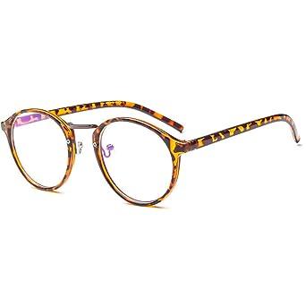 4c1b144541f7b4 Forepin Lunettes rondes vintage rétro reg  Monture lunettes de vue  transparent pour femme et homme Pont métalliques + Branches plastique +  Cadre léopard  ...