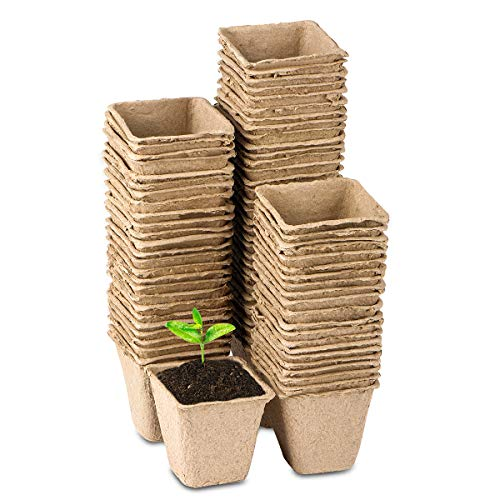 - 3 Inch Square Plant Starter Peat Pots for Seedings Organic Biodegradable Seed Starter Pots, Bulk 80 Pack