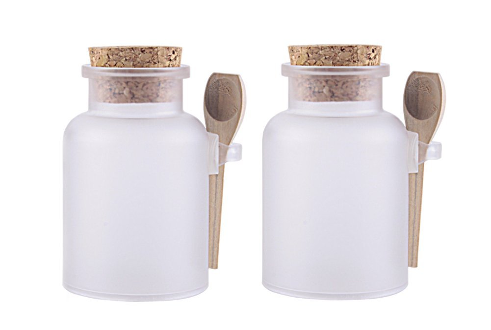 2PCS Plastic Round Matte Bath Salt Seasoning Sauce Jar Container/Kitchen Storage Containers with Cork Stopper and Wooden Spoon(Transparent) (200G)