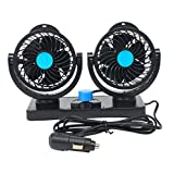 8milelake 12V Car Fan Dual Heads Vehicle Fans-360 Degree Rotation Strong Wind Auto Cooling Air Fan-Ventilation