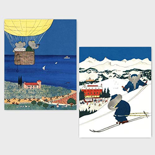 (Set of 2) Babar the Elephant Nursery (Boy Wall Art, Baby Sports Decor, Girl Prints) Hot Air Balloon & Ski - 8x10 Unframed