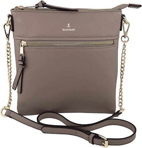 Vegan Double-Zipper Crossbody Bag with Chain Strap (Stone.)