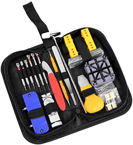 Ohuhu 156 PCS Watch Repair Tool Kit, Case Opener Spring Bar Watch Band Link Tool Set With Carrying Bag, Replace Watch Battery Helper Multifunctional Tools With User Manual For Beginner