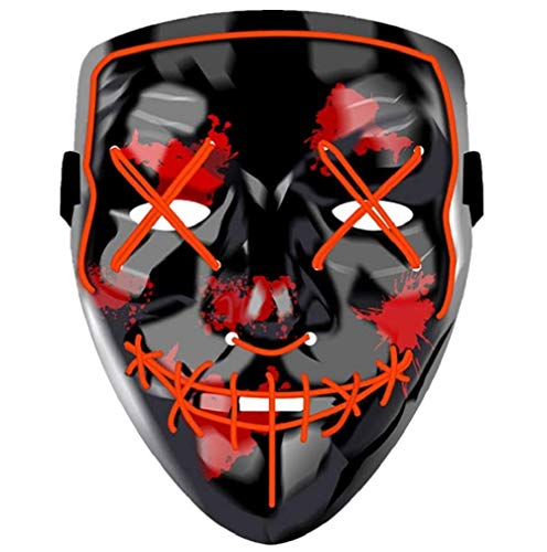 Halloween Led Mask, Light Up Purge Mask 3 Glowing Modes, Cosplay Costume Scary Mask for Halloween Festival Party