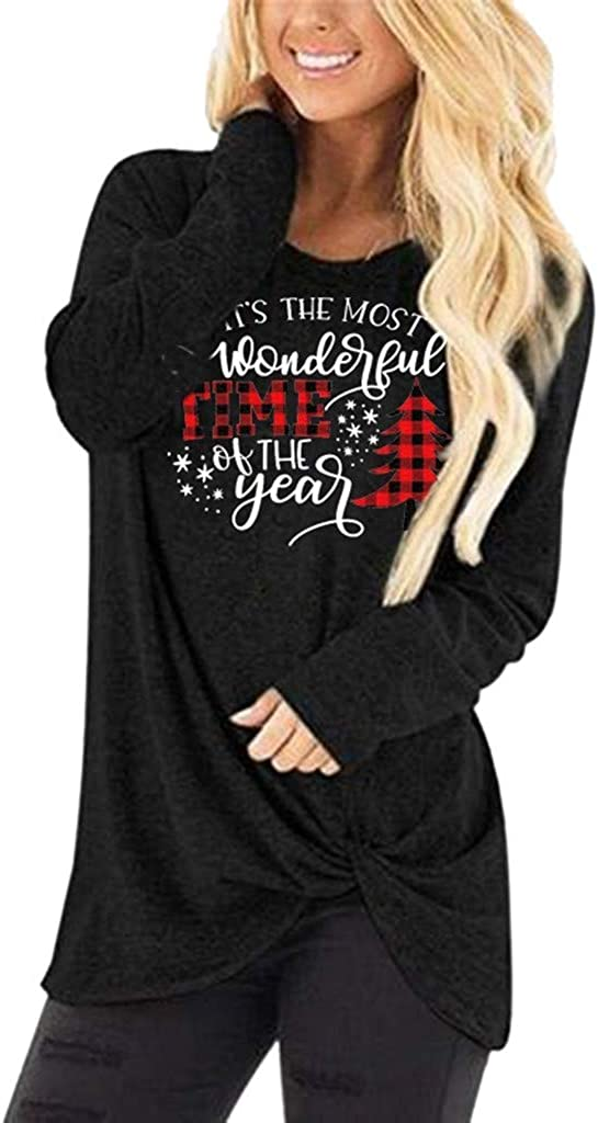 Vedolay Womens Top Womens Casual Long Sleeve Round Neck Pocket T Shirts Blouses Sweatshirts Tops