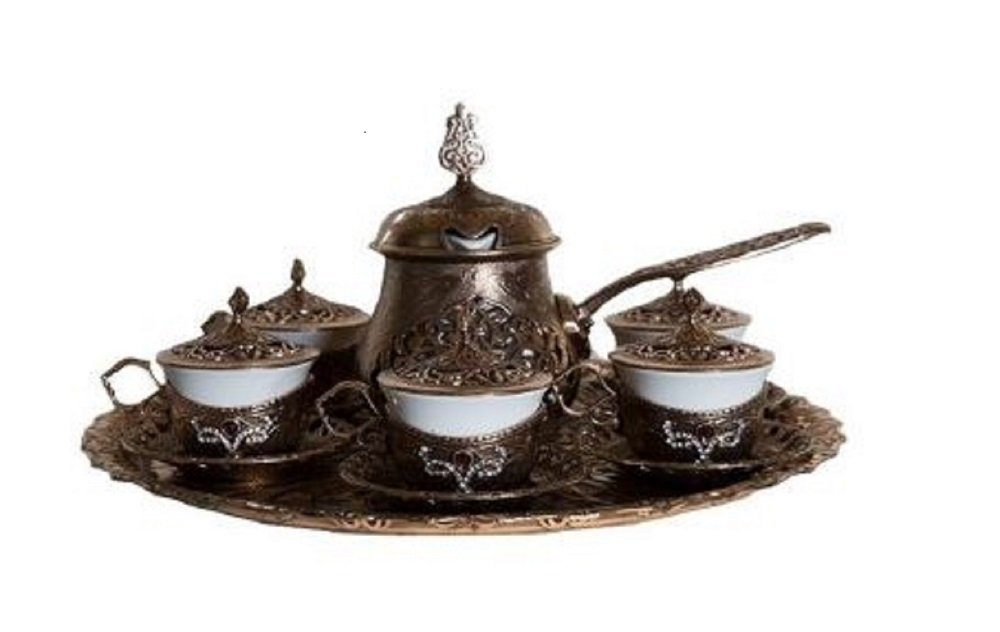 Traditional Turkish Style Coffee Serving Set with Coffee Warmer with Colored Stone Insets (Bronze)