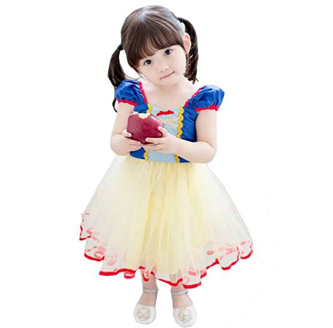 Tokkids - Traje de Princesa de niña para Fiesta Halloween Carnaval cumpleaños (Blancanieves)