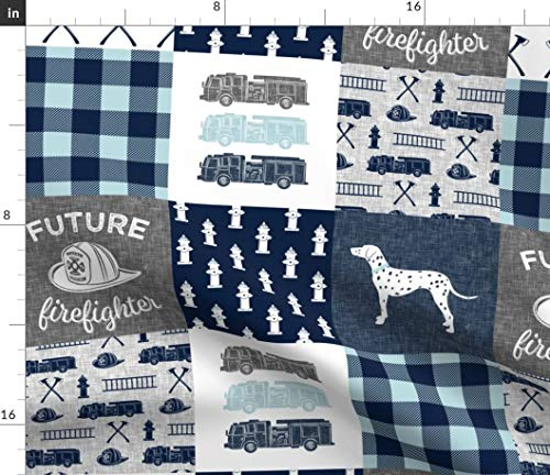 - Cheater Quilt Fabric - Baby Boy Patchwork Quilt Blanket Future Firefighter Fire Truck Blue And Grey Boys Print on Fabric by the Yard - Modern Jersey - for Fashion Apparel Clothing with 4-Way Stretch