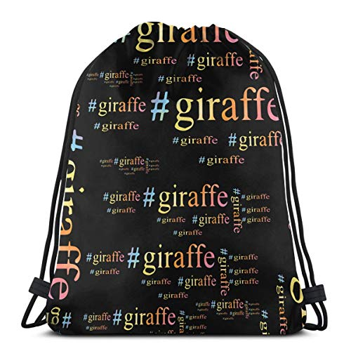 Giraffe Hashtag Funny Letter Word Drawstring Bags Gym Bag Backpack Shoulder -