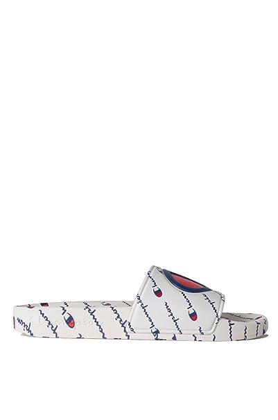 f3e3872ae CHAMPION Women s Ipo Repeat All Over Script Cursive Logo Slide Sandals-WHITE  WHITE 7  Amazon.ca  Clothing   Accessories