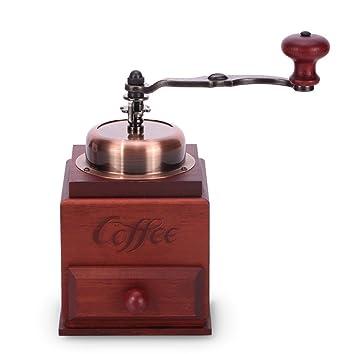 Molinillo De Grano De Café Amoladora Portátil Retro Manual De Pimienta De Sal Ajustable Muele Habas De Especias Dibujo: Amazon.es: Hogar