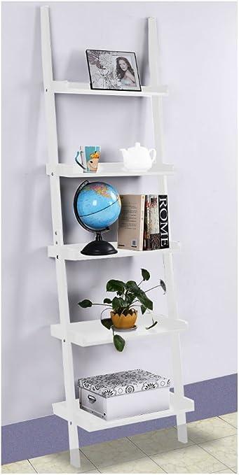 5-Tier Ladder Book Shelf Leaning Wall Shelf Bookcase Storage Display Furni White