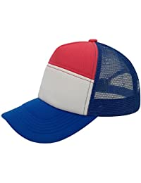 Polyester Unisex Plain Trucker Mesh Cap Adjustable Blank Baseball Cap (Blue/Pink)
