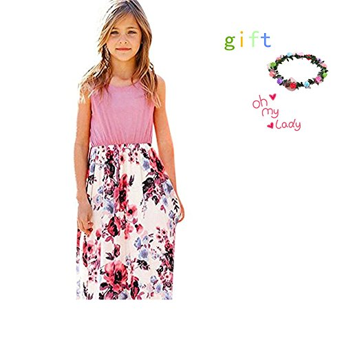 Miss Bei Girls Summer Casual Floral Print Sleeveless Beach Sundress Long Maxi Dress with Pockets Size 4-10T (Sleeveless Pink+White Pattern, ()