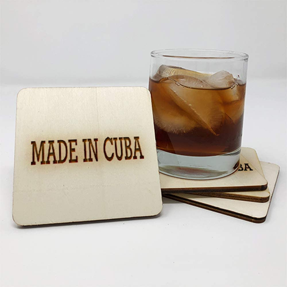 Posavasos para bebidas | Hecho en Cuba (juego de 4 piezas) – Posavasos para bebidas – Idea de regalo única para el hogar 10455: Amazon.es: Hogar