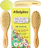 Image of BabyLinos 4 Piece Wooden Baby Hair Brush Set with comb and Ultra Soft Silicone Scalp Shampoo Brush for Newborns and Toddlers, Natural Goat Bristles for Cradle Cap, Perfect for Baby Registry (Yellow)