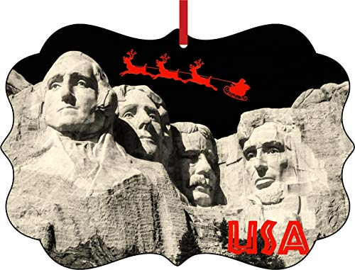 - Lea Elliot Inc. Santa Klaus and Sleigh Riding Over Mount Rushmore USA Presidents Double Sided Elegant Aluminum Glossy Christmas Ornament Tree Decoration - Unique Modern Novelty Tree Décor Favors
