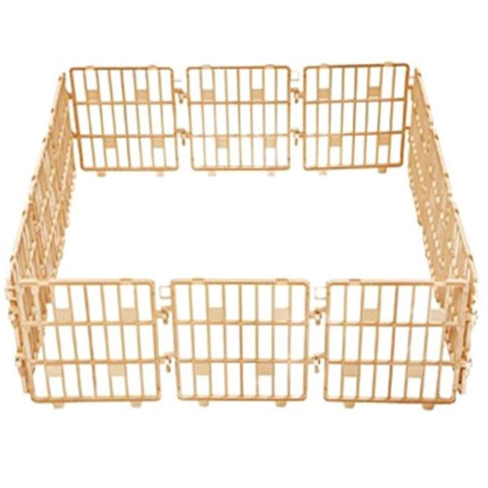 Purmipet Dog Magic Fence Plastic Indoor Outdoor Fences Kennel Cage Play Pen with 12 Pieces Ivory color