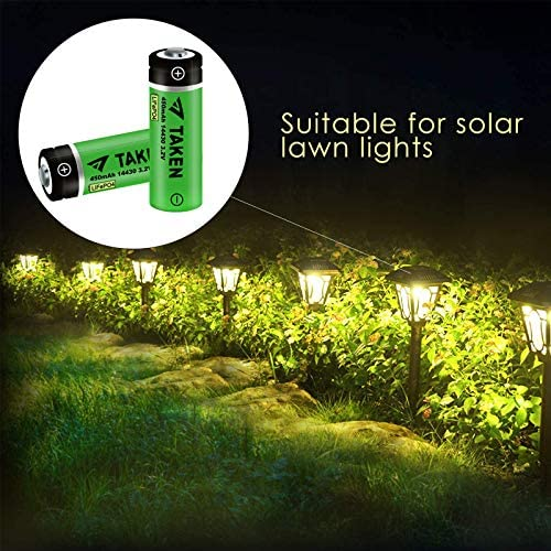 14430 Battery, Taken 14430 3.2V 450mAh LiFePo4 Rechargeable Solar Battery for for Solar Panel Outdoor Garden Lights (8 Pack)