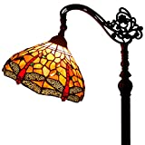 Tiffany Style Reading Floor Lamp Red Dragonfly Table Desk Lighting H64 inch E26 for Bedroom