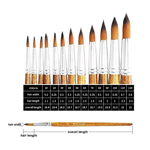 CHIHIC Artist Watercolor Brushes, Round Pointed Tip Paint Brushes Set, 12pcs Different Sizes Detail Paint Brush for Watercolor, Acrylics, Ink, Gouache, Oil, Tempera (Brown)