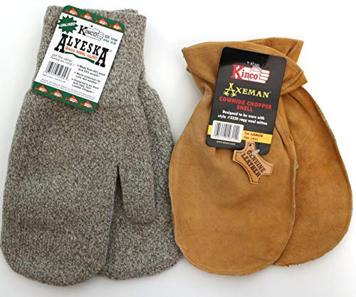 Alyeska 5230 Warm Ragg Wool Mitten and a 1931 Cowhide Leather Chopper Shell Mitten w Nikwax Waterproofing. Designed Specifically to be Worn Together