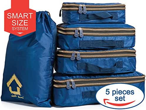 Packing Cubes Space Saver (5 Piece Set) - Sturdy, Lightweight, Water Resistant Packing Squares - Compact Travel Packing Cubes - Organize your Luggage with Ease & Pack Like a Pro!