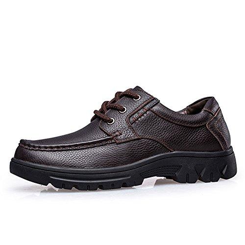 Oxfords Negro Zapatos Cordones Cordones Casuales Marrón con ailishabroy Hombres para con Cuero Bajos SdXwPUx