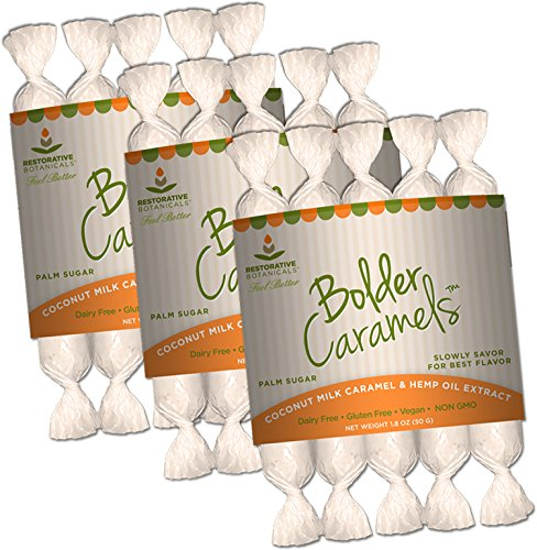 Healthy Sleep Patterns - Bolder Caramels - Hemp Oil Infused Supplement - 10 mg per Piece - 3 Packs of 5 Caramels - Supports Functional Calming for Stress Relief, Relaxation, and Healthy Sleep Patterns