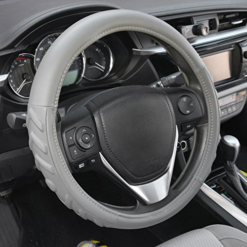 Motor Trend SW-706-GR-S_n18 Gray Small (13.5-14.5) 100% Odorless Car Steering Wheel Cover-Comfort Cushion Grip (13.5 to 14.5 - 706 Leather