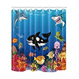 KOTOM Kids Love Sea Animals Shower Curtains, Cartoon Whale with Sea Life Swimming in Coral, Polyester Fabric Waterproof Bathroom Bath Curtain, Shower Curtain Hooks Included, 69X70in