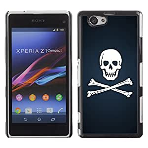 YiPhone /// Prima de resorte delgada de la cubierta del caso de Shell Armor - Skull & Bones Pirate Flag - Sony Xperia Z1 Compact D5503